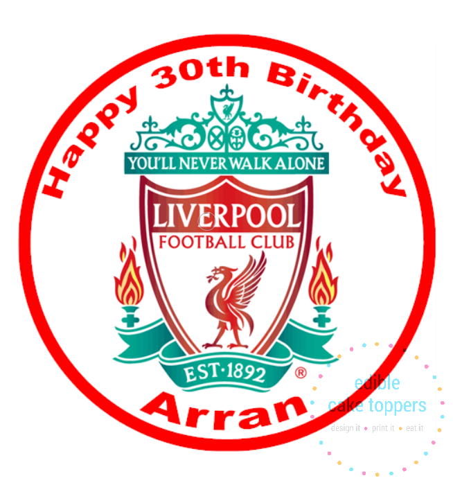 Liverpool Football Club Personalised Edible Cake Topper
